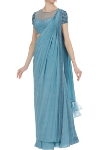 crepe-silk-hand-embroidered-bugle-bead-pant-saree-with-blouse
