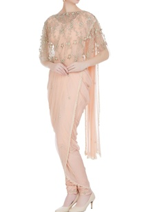 dhoti-pre-draped-saree-with-jodhpuri-pants-cape-blouse