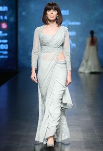 aqua-blue-hand-embroidered-bead-sari-set