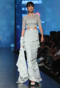 aqua-chiffon-hand-embroidered-bead-frilly-saree-with-blouse-petticoat