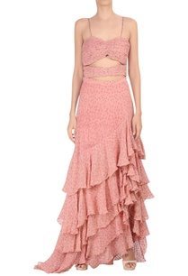 waist-cutout-ruffle-layered-gown