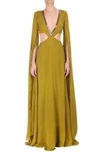 cutout-cape-sleeve-gown