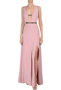 deep-v-neckline-gown-with-high-slit