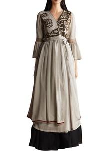grey-georgette-chanderi-anarkali-with-skirt