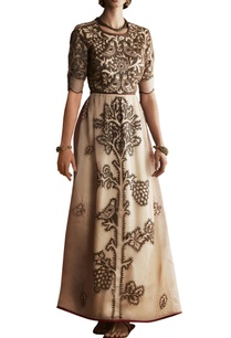 champagne-beige-organza-bead-embellished-dress