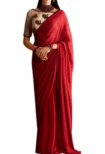 red-georgette-peacock-motif-saree-with-organza-blouse