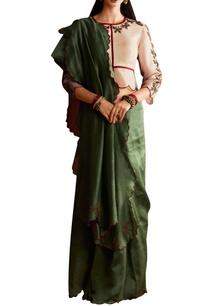 green-georgette-sari-with-organza-blouse