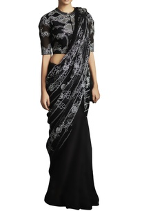 black-applique-thread-embroidered-saree-with-blouse