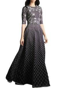 black-organza-silk-checkered-pattern-evening-gown
