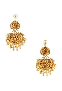 gold-plated-beadwork-dangling-earrings