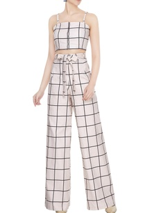 white-cotton-chequered-crop-top-pants-set