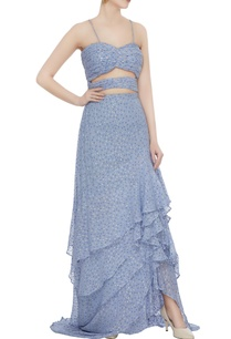 blue-dotted-chiffon-ruffled-cut-out-gown