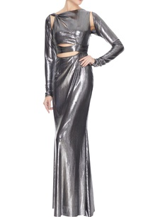 silver-metallic-front-cut-out-gown