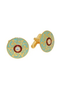 turquoise-maroon-cufflinks-with-gold-detailing