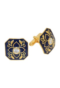 black-gold-plated-brass-handcrafted-floral-cufflinks