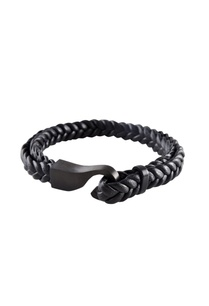 black-brass-braided-leatherette-wristband