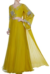 yellow-flared-sleeve-embroidered-blouse-with-organza-lehenga