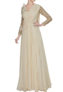 ivory-georgette-saree-gown