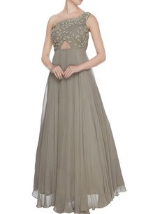grey-one-shoulder-georgette-silk-anarkali-gown