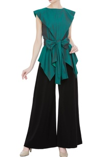 asymmetric-blouse-with-tie-up-accents-flared-pants
