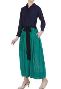 muga-silk-button-down-collar-dress