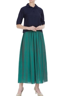 muga-silk-polo-shirt-with-pleated-skirt
