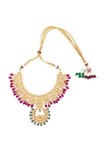 kundan-earrings-with-pink-green-beads