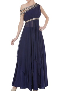 draped-layered-blouse-with-skirt