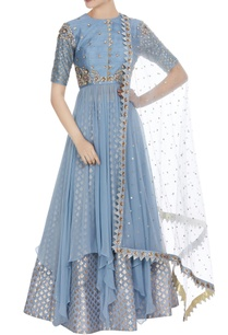 sequin-pearl-asymmetric-kurta-with-skirt-net-dupatta