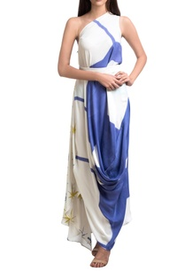 blue-white-one-shoulder-brush-painted-dress