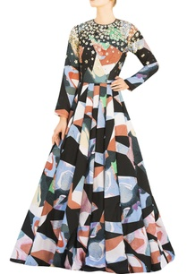 multicolored-full-sleeve-printed-gown