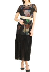 multicolored-printed-sweetheart-neckline-dress-with-black-tulle-over-layer