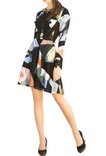 multicolored-printed-long-sleeve-evening-dress-with-lace-detailing