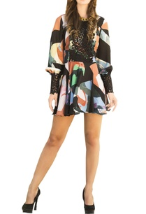 multicolored-printed-skater-dress-with-lace-detailing