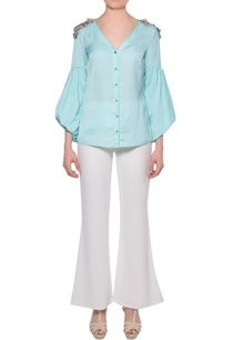 aqua-blue-satin-shirt-with-bishop-sleeves