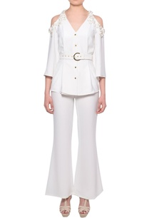 white-cold-shoulder-shirt-with-flared-pants