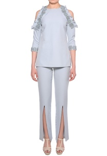 pale-blue-heavy-crepe-cold-shoulder-blouse-slit-pants-co-ordinate-set