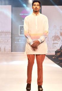 white-pink-linen-short-kurta
