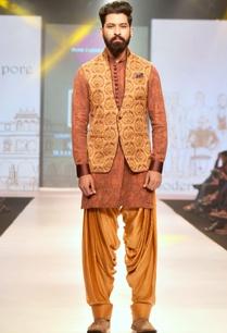 brown-rust-printed-linen-silk-half-jacket