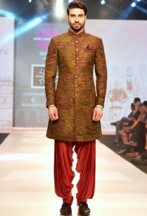 multicolored-peacock-feather-sherwani-achkan