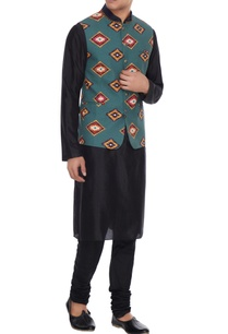 sea-green-print-cotton-nehru-jacket