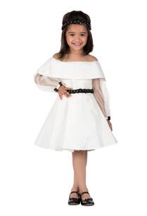 ivory-satin-lining-leg-of-mutton-sleeves-short-dress