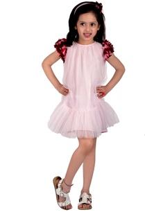 light-pink-cotton-silk-net-ombre-sleeve-cluster-short-dress