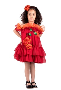 red-ruffle-layer-georgette-dress