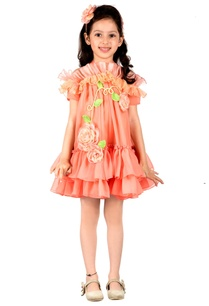peach-frilly-ruffle-layer-halter-dress