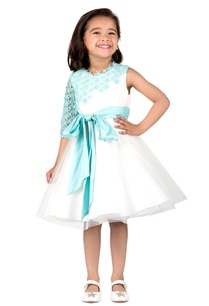 ivory-mint-taffeta-lace-pattern-pouf-flared-dress