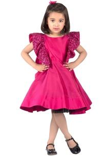 fuchsia-pink-taffeta-silk-dress