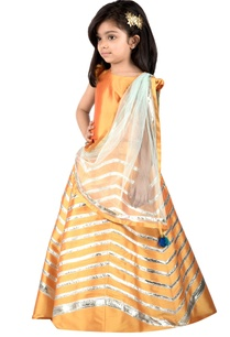 marigold-yellow-taffeta-silk-lehenga-set