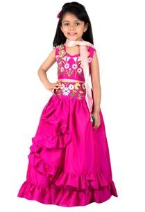 fuchsia-pink-taffeta-silk-lehenga-set