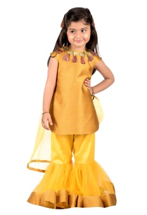 sunshine-yellow-jacquard-kurta-gharara-set